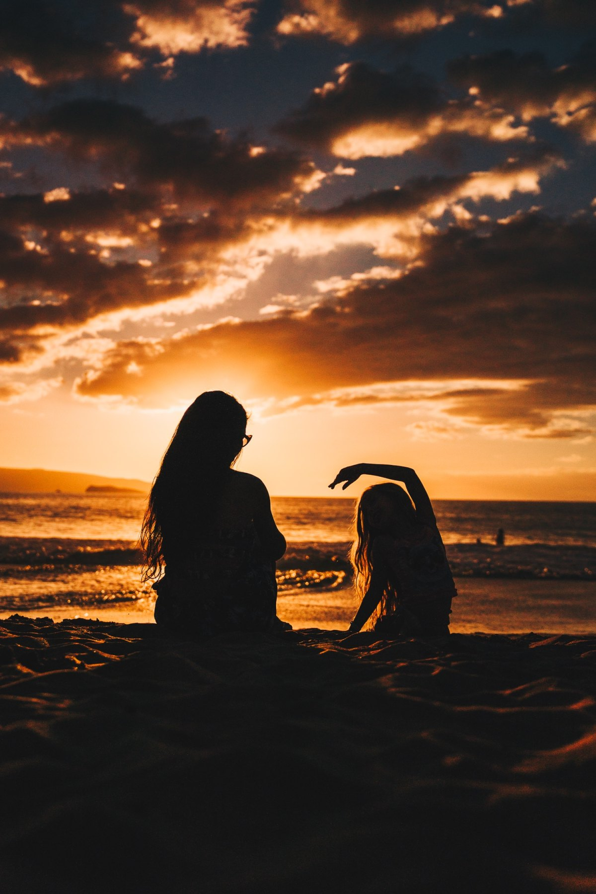 Mother's Day tribute, Mother and Daughter at the Beach Watching the Sunset